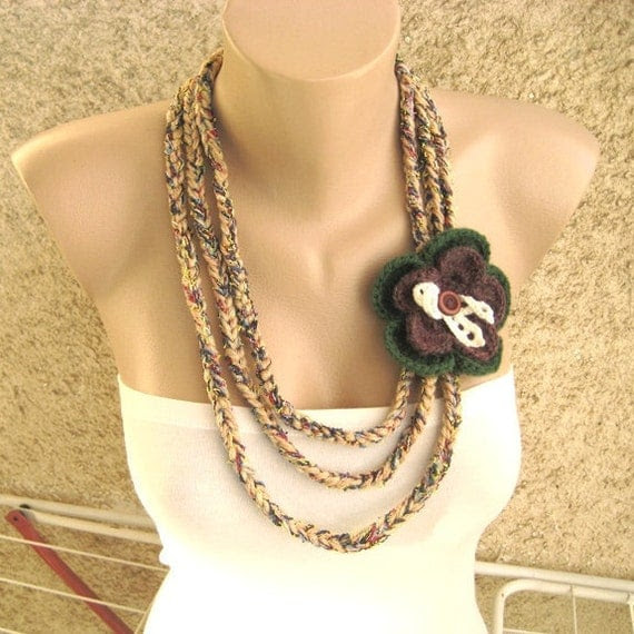 Crochet Necklace Dark Flower Brooch Earth tones Three thick strings Soft Original Handmade by margity