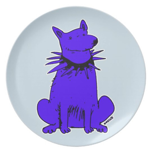 cartoon style guard dog pure blue dinner plate