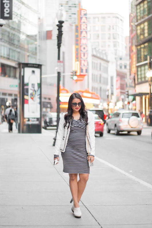 Striped Dress and Tweed Blazer - Love Playing Dressup