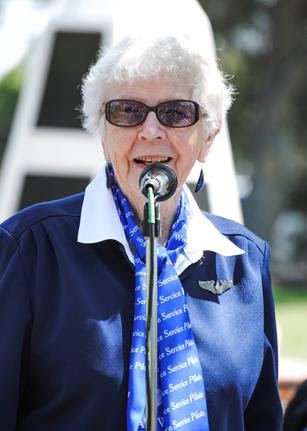 Women Airforce Service Pilot Flora Belle (Smith) Reece spoke at the W.A.S.P. memorial dedication at Lancaster Cemetery in 2011. (Aerotech News photo by Rebecca Amber)