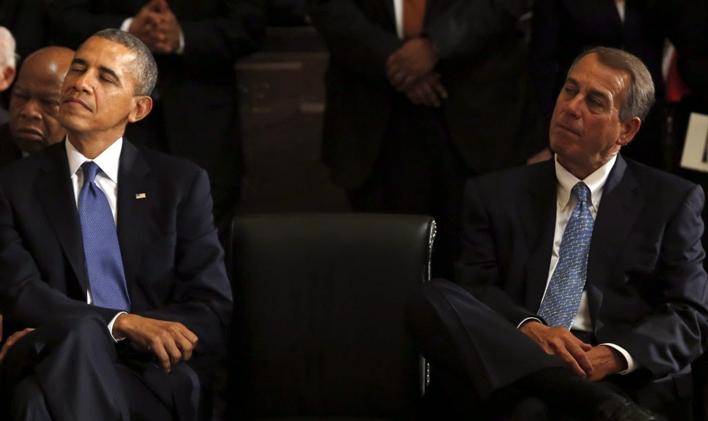 One of these guys is going to be very happy on Election Night 2014 (Photo: EPA/Aude Guerrucci)