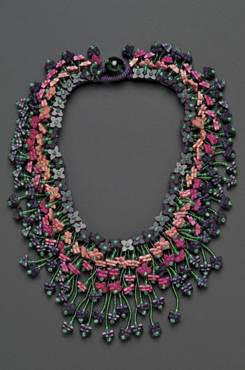 Miriam Haskell Vintage Wood and Venetian Glass Bead Collar necklace
