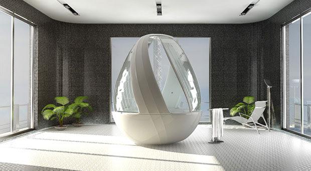 Cocoon Egg Shower, Arina Komarova, decoracion, baños, interiores