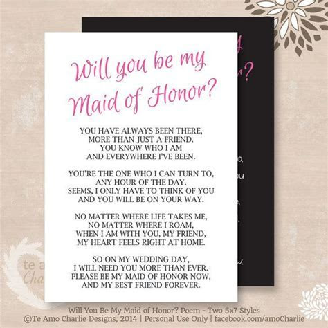 Will You Be My Matron of Honor? Poem   Instant Download