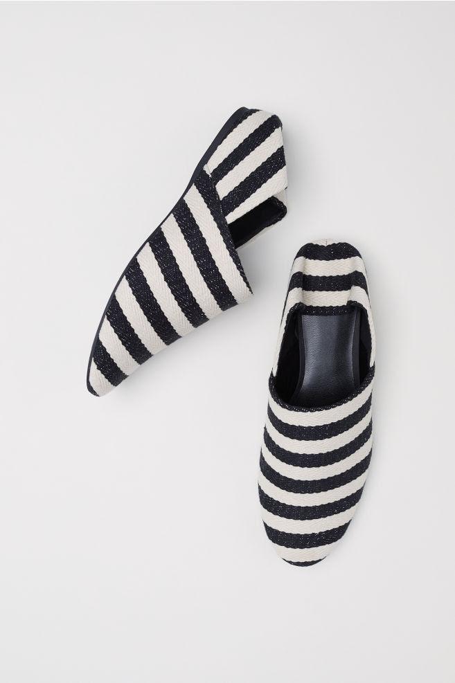 Klapki na koturnie - Czarny/Białe paski - ONA | H&M PL 1