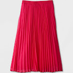 Women's Pleated A-Line Midi Skirt - A New Day Pink