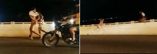 Nus, suspeitos foram obrigados a correr pelas ruas de Natal até a ponte de Igapó, de onde foram forçados a saltar (Foto: Reprodução/Redes Sociais)