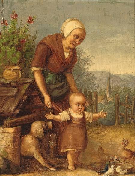 Gustav Süs Mutter mit Kleinkind im Hühnerhof