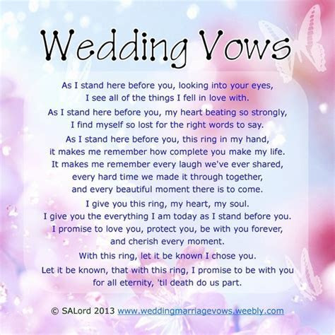 Personal Wedding Vows   Sample Marriage Vow Examples