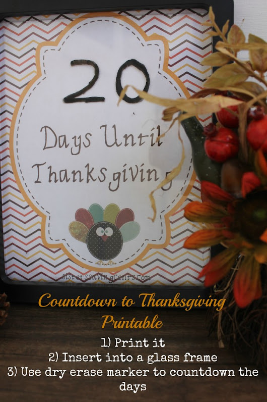 Countdown To Thanksgiving Printable - Sisters Saving Cents