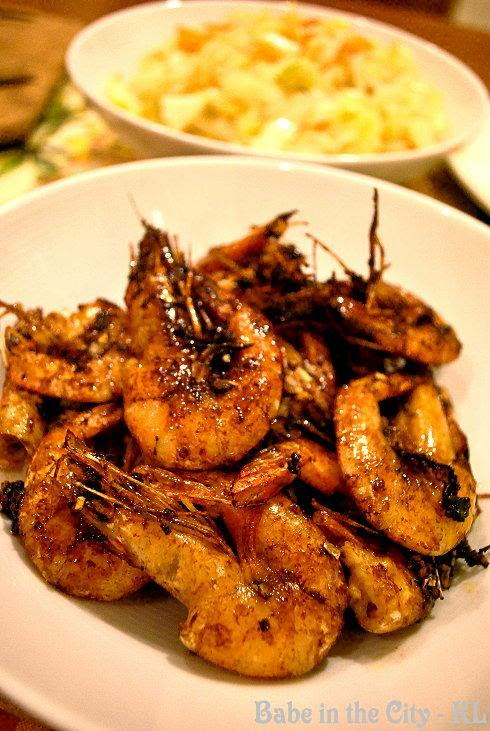 Fried Soy Sauce Prawns