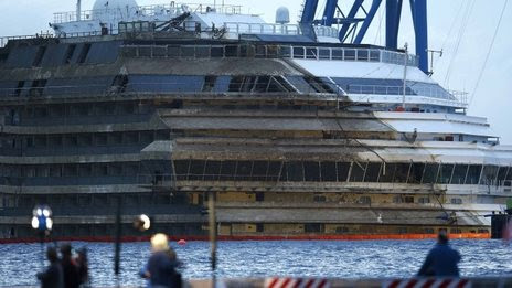 Costa Concordia ship set upright