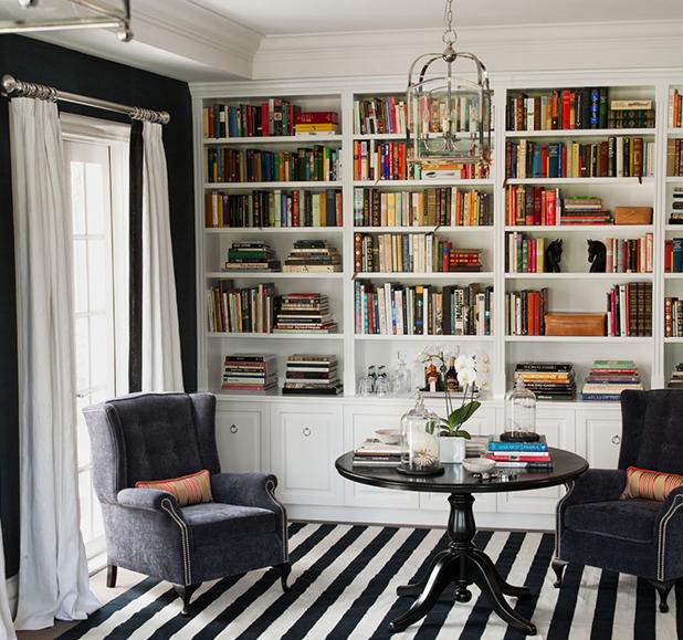 Suzie: Diane Bergeron  blue & white office den design with blue walls paint color, blue velvet ...