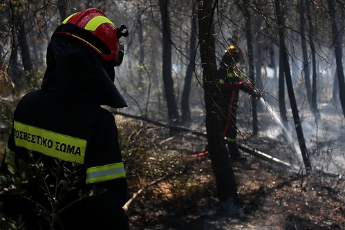 Greek fire fighters dealing with forest fire in Thessaloniki.
