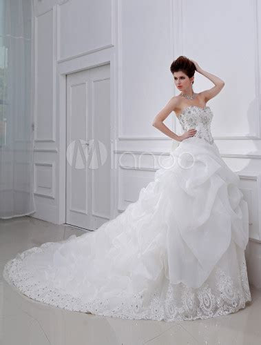 White Ball Gown Rhinestone Pleated Tulle Bridal Wedding