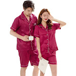 Couples Pajamas, Short Sleeve with Short Pants, Sleepwear & Loungewear, Wine Red / Womens XLarge from Gifts Are Blue