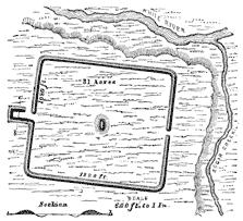 Plan of rectangular earthworks