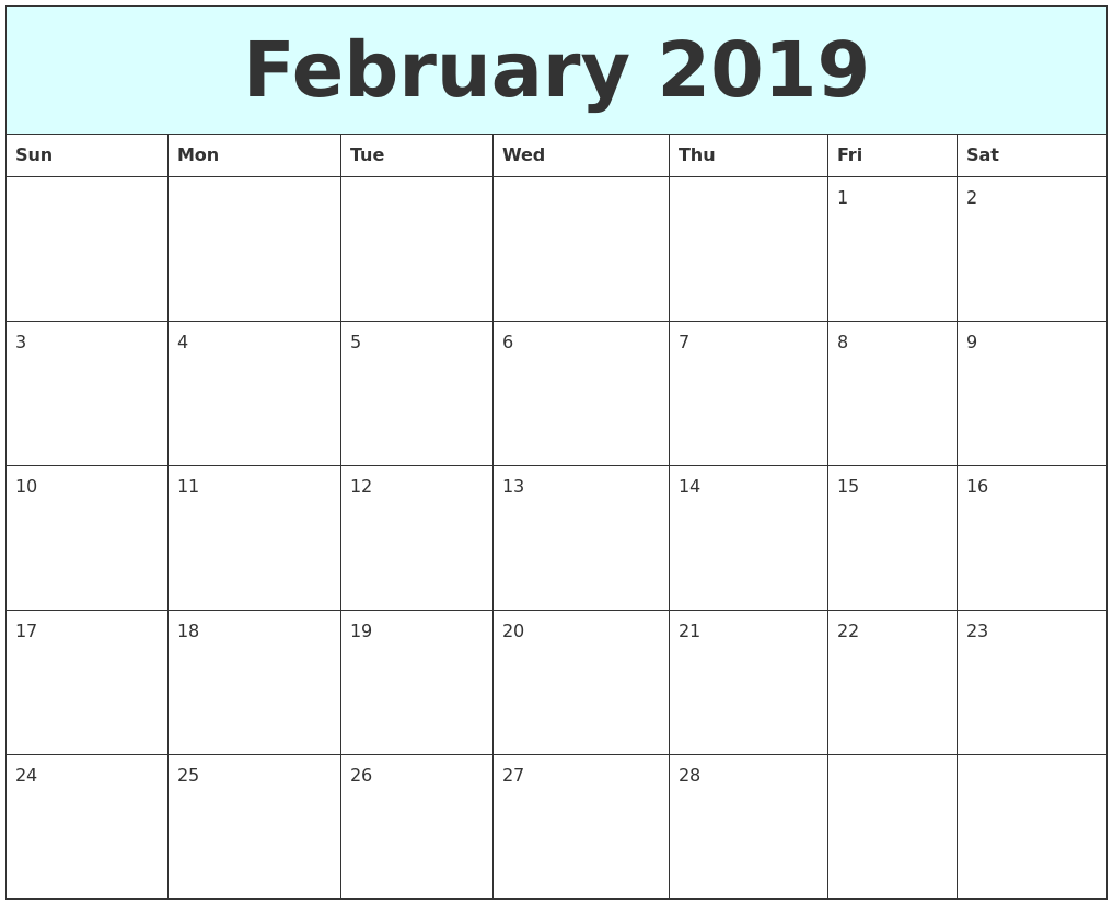 february 2019 free calendar