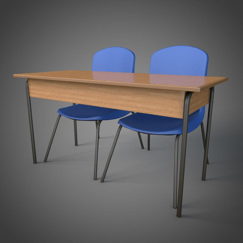 3d schooldesk school chairs
