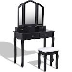 Costway Tri Folding Mirror Vanity Makeup Table Stool Set Black