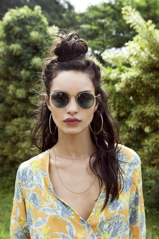 8 Le Fashion Blog 20 Inspiring Half Up Top Knot Hairstyles Long Brown Wavy Hair Bun Via For Love And Lemons