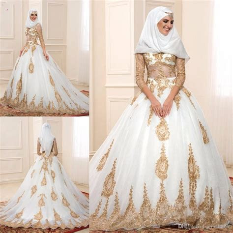 Muslim Gold Lace Wedding Dresses 2016 with Sheer Long