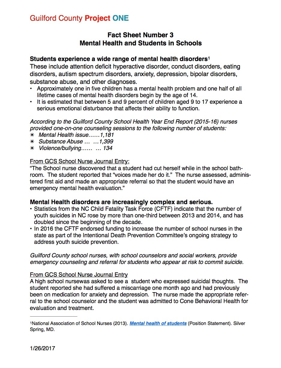 Fact Sheet 3 Mental Health And Students In Schools Project One
