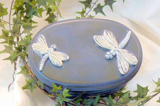 Oval Dragonfly Jewelry Box by GrapeVineCeramicsGft on Etsy