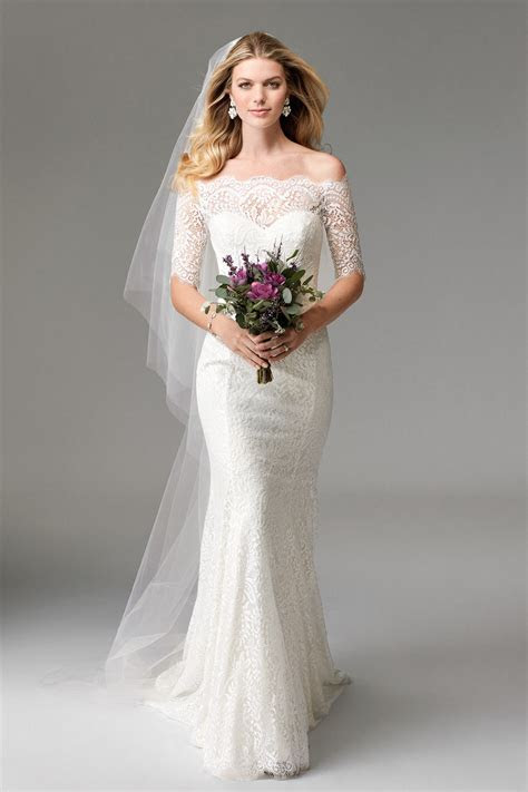 China off Shoulder Bridal Gowns Mermaid Fishtail Lace 1/2