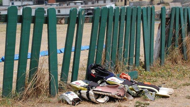 Cricket kit on the floor at a Lagos cricket ground - Nigeria