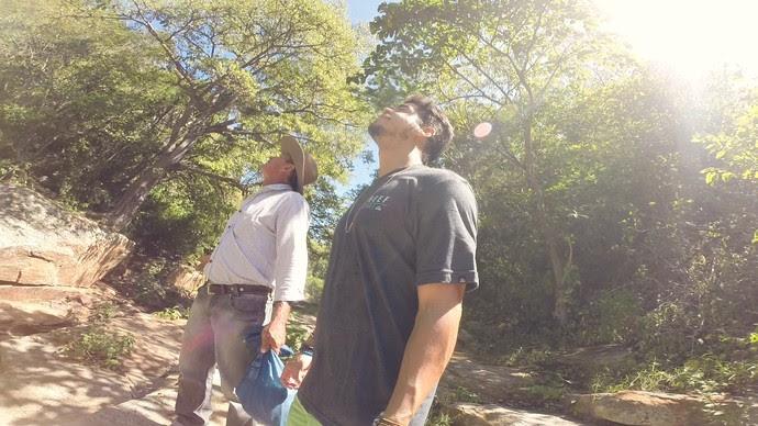 Leo Souza na trilha do Complexo do Relo, em Luís Gomes (Foto: Alex Rodrigues - Rota Inter TV)