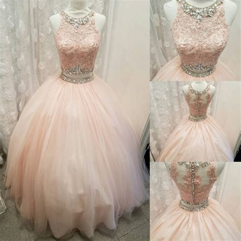 Elegant Lace Crop Top Pink Tulle Ball Gown Quinceanera