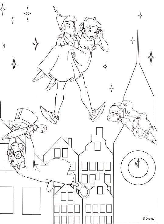 Coloriage A Imprimer Peter Pan Et Wendy Dans Le Ciel De Londres