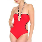 Sanrio Hello Kitty Womens Monokini Style One Piece Red Swimsuit (Small) [Misc.]