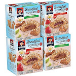 Quaker Breakfast Squares Variety Pack, Apple Cinnamon & Strawberry, 5 Bars Per Box (Pack of 4)