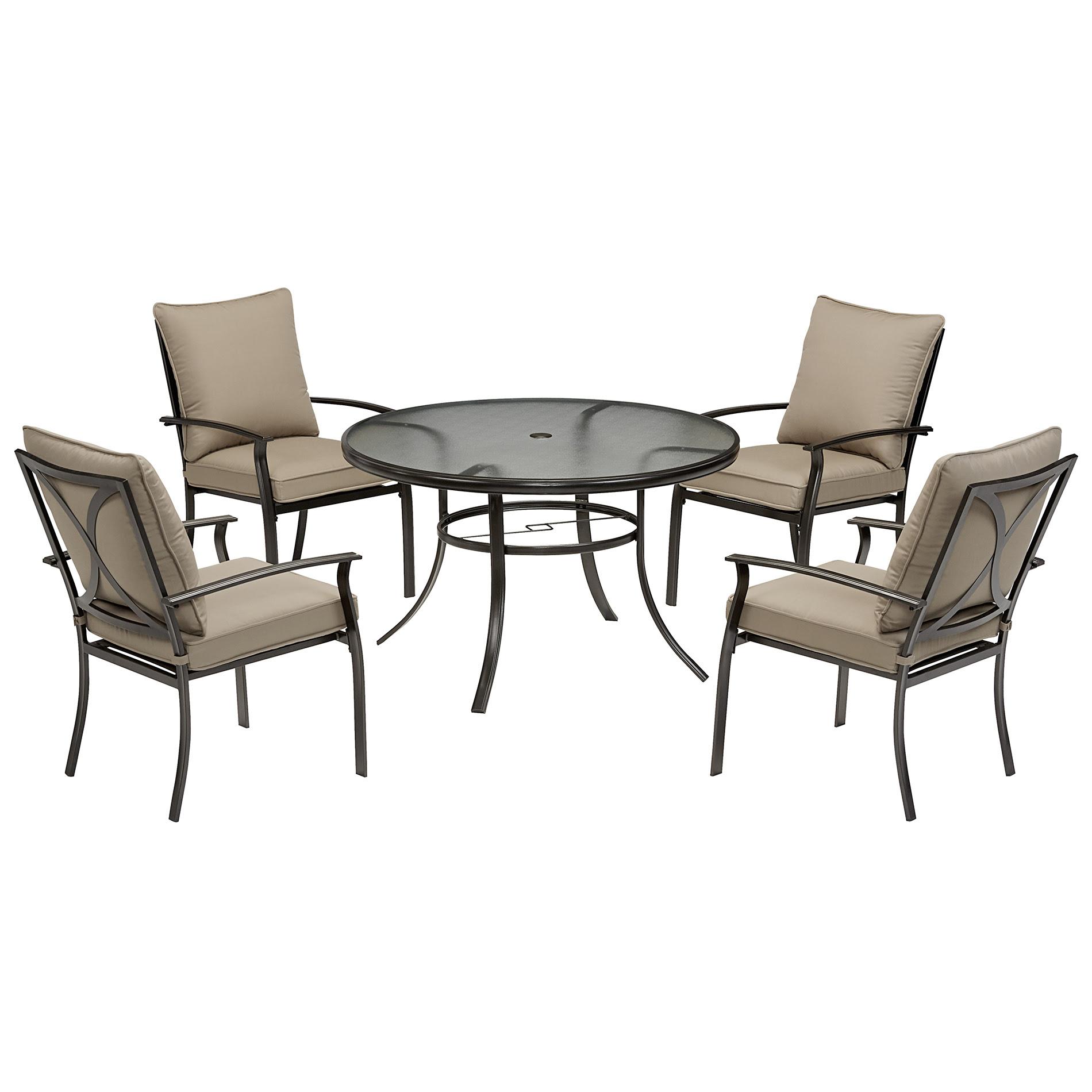 Garden Oasis Harrison 5 Piece Cushion Dining Set - Tan ...