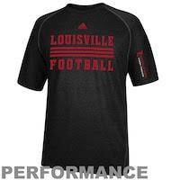 adidas Louisville Cardinals Sideline Evade Performance T-Shirt - Black