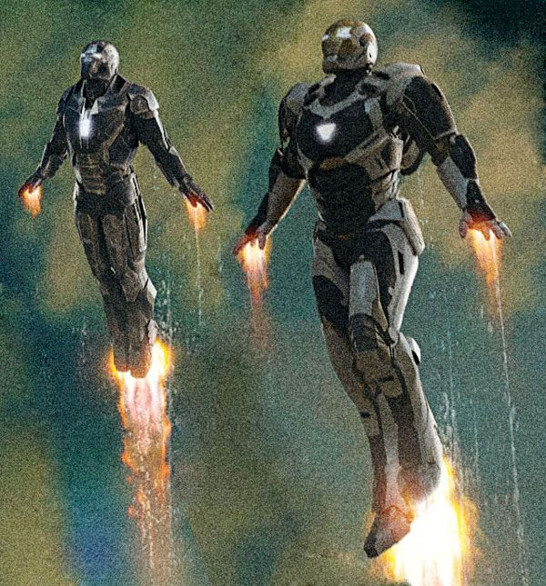 The Deep Space Armor (right) as seen in the IRON MAN 3 theatrical poster.