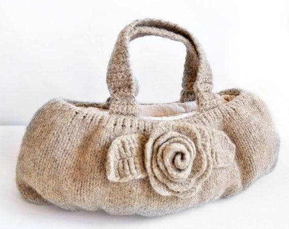 Natural Beige Wool Felted Knit Handbag