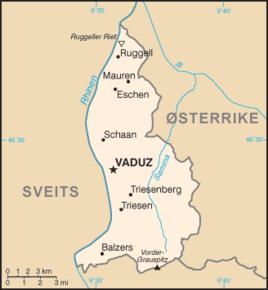 Kart over Fyrstedømmet Liechtenstein