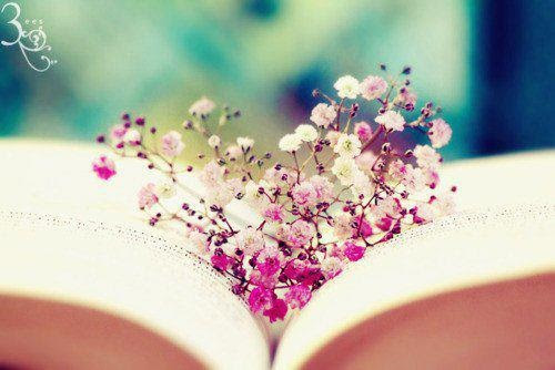 book and flower heart