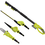 Sun Joe Cordless Lawn Care System with Hedge Trimmer Pole Saw and Leaf Blower, Green