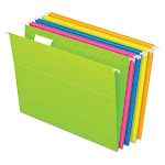 Glow Hanging File Folders, Letter Size, 1/5-Cut Tab, Assorted, 25/Box 81672