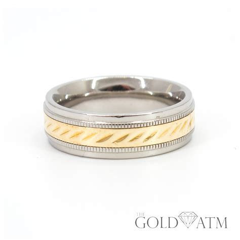 Two Toned 10K Yellow Gold and Stainless Steel Wedding Band
