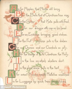 The wonderful colour illustrations show a Christmas with plum pudding and party games, houses decorated with holly and stockings stuffed with oranges and nuts