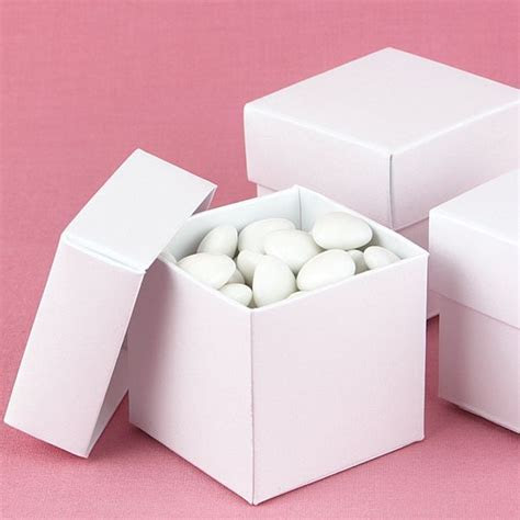 2 x 2 White Shimmer Favor Candy Boxes (Set of 25)