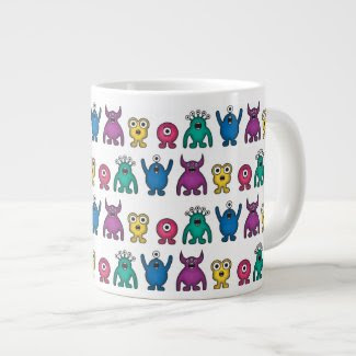 Kawaii Rainbow Alien Monsters Pattern Mug Extra Large Mug