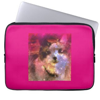 snowshoe aurora borealis kitty laptop sleeve