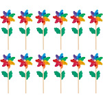 Pinwheels - Pack of 12, Colorful Pinwheels - Value Pack - Suitable for Garden, Party, Outdoor, Yard, Decoration | Multicolored, 4.5 x 11.2 x 2.1