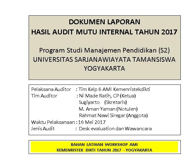 Contoh Laporan Hasil Audit Mutu Internal Kumpulan Contoh Laporan